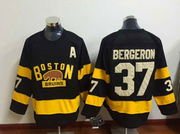 2017 gros n Chandails de hockey de gros 2016 Winter Classic Maillots Bruins de Boston N ° 37 Patrice Bergeron # 88 David Pastrňák Noir Jerseys promotion gros n