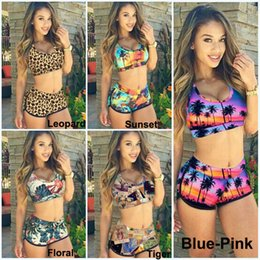Tankinis mulheres s On-line-Moda Sexy Mulheres Bandage Swimsuit Tankini Sunset Coconut Palma 3D Impresso Racerback Vest Tank Tops Sutiã Shorts Sports Swimwear KF898