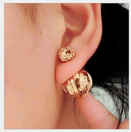 Fashion Trendy Double Sides Ball Earrings Hollow out Wire Drawing Knitting Wool Shaped Double Balls Stud Earrings Jewelry Wholesale Mix