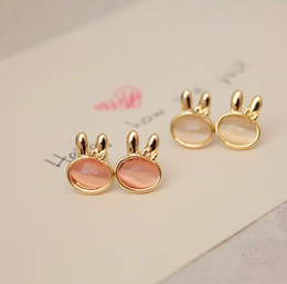 Wholesale 2015 fashion jewelry double sided studs earrings for women piercings crystal A0043 pink opal earrings ear acupuncture mixed batch of anima
