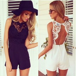 Wholesale 2014 New Fashion Novelty Tank Slim Women s sexy bodycon jumpsuit With Lace Lace Patchwork playsuit Sleeveless shorts coveralls