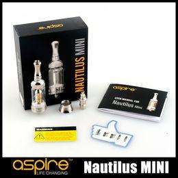 Wholesale 100 Original Aspire Nautilus MINI Adjustable Airflow Atomizer ml Pyrex Glass Tank Bottom Vertical Coil BVC Coil Tank kit