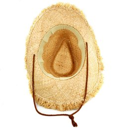 Wholesale-2015 Hot Mens Womens Fashion Unisex Feathered Edge Natural Straw Cowboy Sun Hat Cap