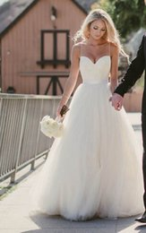 Wholesale Beach Wedding Dresses New Sweetheart with Lace Corset Bodice Spaghetti Straps Tulle Bridal Gowns Discount Sale Princess Country Bridal