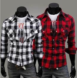Wholesale Check Shirt Fashion Men - Mens Plaid Shirts New Check Plus Size Casual Shirts Cotton Fashion Slim Turn down Collar Long Sleeves Men Shirts Black Red