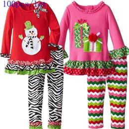 100pcs lot 2015 new yerar Spring Autumn Christmas Cartoon Cotton long sleeve T- shirt +striped waves pants suits