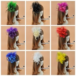 Wholesale Multi color Vintage Bridal Fascinator Hat White Feathers Aristocratic Banquet Bride Headdress Flower Hairpin Headdress For Party Evening