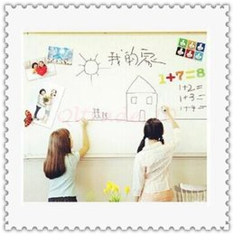 Wholesale 300pcs CCA3148 Kids CM PVC Whiteboard Wall Sticker Decal Vinyl Removable DIY White Board Sticker With Marker Pen With Retail Package