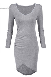 2016 fashion new arrival women's clothing sexy Ruched Bodycon V Neck Long Sleeve Evening Party Cocktail Mini Dress SV029669