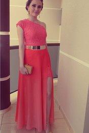 Wholesale Stunning Vestidos De Bridesmaids Dresses Vestidos de renda para madrinhas Watermelon Chiffon Skirt SplitFloor length Lace New Arrival WB03