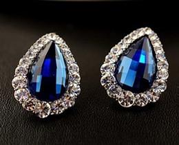 blue diamond tear drop lady's earings (16*20mm ) ( nnsssp)