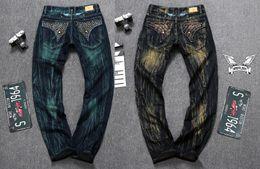 Wholesale Men Straight Jeans Classic Denim Trousers Fall Winter Robin Men Jeans High Quality Cotton Jeans Fried Snow Slim Jeans Rhinestone Decoration