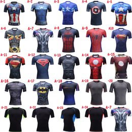 Wholesale 2016 High Quality Marvel Super Heroes superman Captain America Avenger Transformers D quick dry breathable compression tights Gym T shirt
