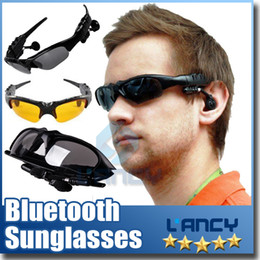 Wholesale Bluetooth Sunglasses Headset Sports Stereo Wireless Sun Glasses Handsfree Music Call Headphone for iphone samsung HTC Smartphones