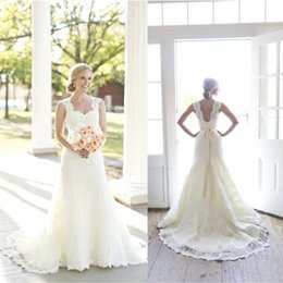 Wholesale Sweetheart Neck Line Bridal Gowns - 2016 Full A-Line Lace Wedding Dresses Ivory Sweetheart Neck Sleeveless with Beaded Satin Sash Open Back Court Train Vintage Bridal Gowns