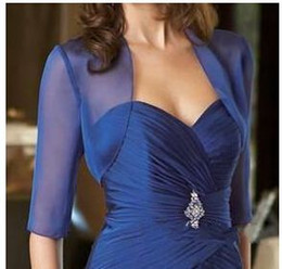 Royal Blue Chiffon 3 4 Sleeves Evening Jackets Boleros Bridal Jacket Plus Size Cheap Simple Bridal Coats For Mother of the Bride Dresses