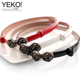 Wholesale YEKO black retro round buckle roses thin belt thin belt female belt red and white drawing of arbitrary regulation