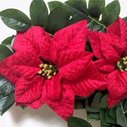 Wholesale Christmas Tree For Wall - Wholesale-hot red artificial poinsettia large, velvet christmas flower head for Xmas event centerpiece wall decor gift box