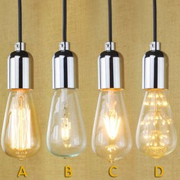 Wholesale High Quality E27 Socket Screw Bulbs Edison Retro Pendant Lamp Fixture With Wire Without Switch V Sliver