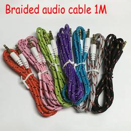 Armadura usada en Línea-Car Weave Audio cable de conexión Cable de buena calidad colordul aux cable cable de audio auxiliar de 3,5 mm uso general para samsung iPhone MP3