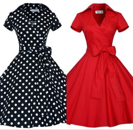Wholesale New Audrey Hepburn Vestidos Lapel Neck Plus Size Women Summer Black Retro Casual Party Robe Rockabilly s Vintage Dresses OXL127