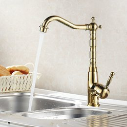 Wholesale 360 Rotating Gold Polished Kitchen Faucets Hot Cold Mixer Tap Brass Basin Faucet