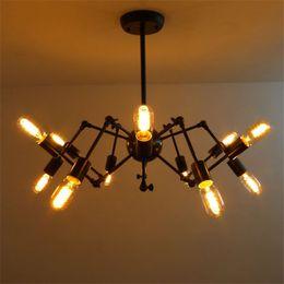 New Spider Chandelier Vintage Wrought Iron Pendant Lamp Loft American Style Lighting 12 Lights Antique Pendent Light Edison Bulb Chandelier