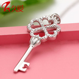 Long love 925 Silver Necklace love key necklace jewelry Korean Seiko quality silver accessories chain clavicle