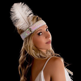 Fashion Diamond sequins ostrich feather headband wearing Indian feather headdress ten color hair band
