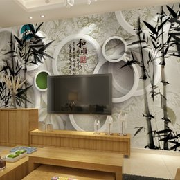 Wholesale 3 d Chinese ink painting bamboo sitting room TV setting wall paper mural bedroom non woven wallpaper walls painted custom ink bag mail