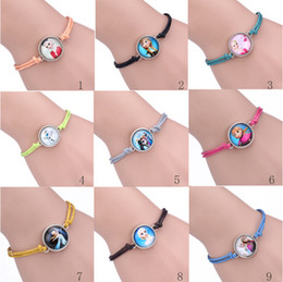 Wholesale Frozen Antique Sideways Charm Queen Elsa Princess Anna Snowman Olaf mix Bracelet Wristbands Party Child Xmas Gift Kinds Of Style