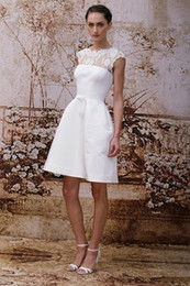 krikor jabotian short lace wedding dresses white ivory satin backless knee length A line lace wedding dresses