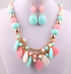 Wholesale New Resin fashion Candy Color acrylic beads Party gold chain lady Dress Necklace earring jewerly set for Women