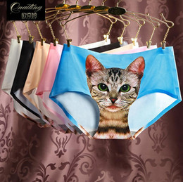 Wholesale 3D Printed Sexy Pussy Cat Panties Seamless Womens Bragas Calcinha Briefs Culotte Femme Ropa Interior Mujer Silk Underwear