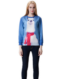2015 New 3D Alpaca Unicorn Print Women Sweatshirt Hoodies Novelty Pullover