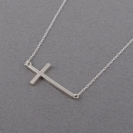 10PCS- N063 Gold Silver Sideways Cross Necklace Cute Cool Christian Cross Necklaces Simple Tiny Faith Religious Cross Necklaces