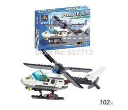 Educational DIY Construction building blocks set Police helicopter 6729 102pcs set plastic toys 1206#06