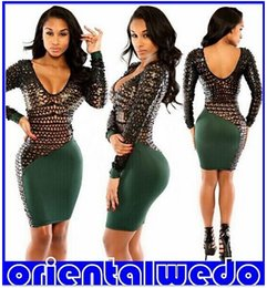 Hollow Out Mini Dress Sexy & Club Bandage Dress Long Sleeve Dress Party Latex Clubwear new arrive free shipping