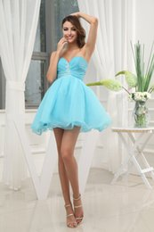 Wholesale Custom Made Cheap Sweetheart Beaded Appliques Mini Length A Line Charming Homecoming Dresses Baby Blue Hot Sell