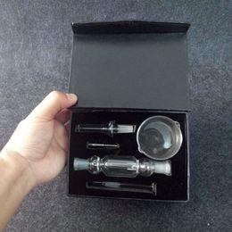 Wholesale 10mm black mini Nectar collector full kit with Titanium Quartz Nail Dabber Dish Mini Glass Bong mm joint Smooth Hit