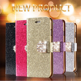 Promotion apple iphone montres intelligentes Smart Watch Luxe PU Cuir Magnetic Flip Stand Bling Wallet Housse Housse pour App le Sam Sung Remax Android Phone