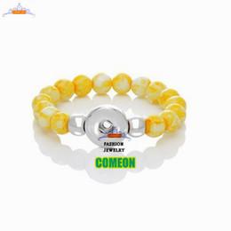 Natural stone bracelet,2015 New Fashion Snap Button Stretch Bracelet DIY Glass Beads Yellow Charms,bracelets for women