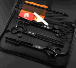 Wholesale 8 inch Professional pet scissors set et grooming scissors set black paint Zilongjin install pet beauty scissors shear suit send comb