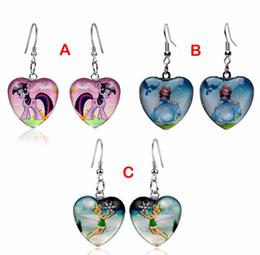 Wholesale Earrings My Little Pony Princess Sofia Tinker Bell Earrings Baby Girl Kids Party Princess Children Gift Heart Pendant Earrings B001