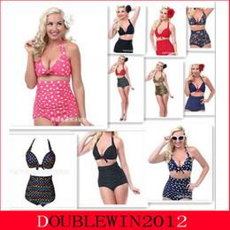 Wholesale 2015 New Arrivals Biquini European and American Style Prudent High Waist Bikinis Women Sexy Swimwear Plus Size S XL Swimsuit