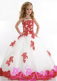 2015 New Lace Toddler Spaghetti White And Red Organza Beaded with Handmade Pageant Dresses for Girls Free Shipping