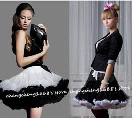 Teen Adult Girls Pettiskirt Womens Party TuTu Skirts White With Black Ruffle Sexier Short Skirt Free Shipping Retail 1 PCS