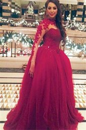 Arab Red high neck collar A line Tulle prom dresses lace stunning sequins beaded with long sleeves floor length evening gowns