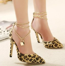 Wholesale Size Leopard Print Heels - Metal chain with lock sexy leopard stiletto heel pumps shallow mouth womens shoes party dress shoes 2015 size 35 to 40