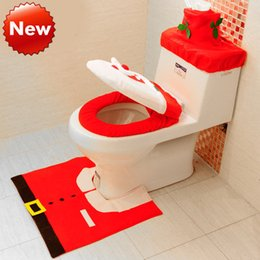 Wholesale New Year Kids Christmas Toilet Seat Cushion Set Decorations Santa gift Toilet Seat Cover Paper towel set Potty pad ground mat